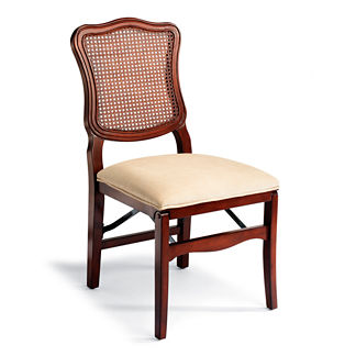 Cane Back Folding Chairs, Set of Two