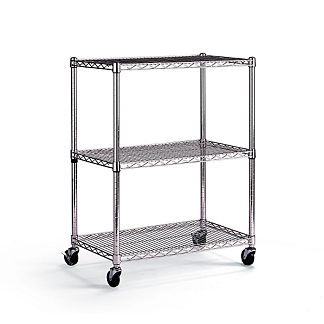 Chrome 3-Tier Shelving Cart with Casters