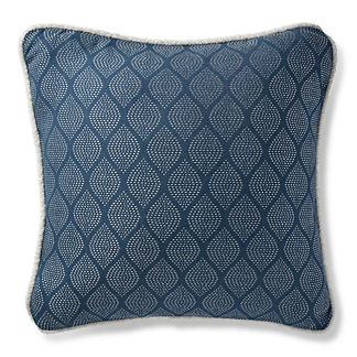 Ogee Stitch Navy Outdoor Pillow