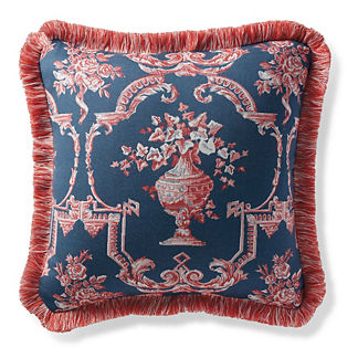 Toile Manor Denim Outdoor Pillow
