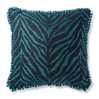 Zebra Linen Peacock Outdoor Pillow