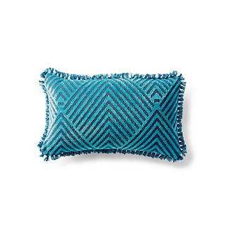 Carved Diamond Indigo Outdoor Lumbar Pillow