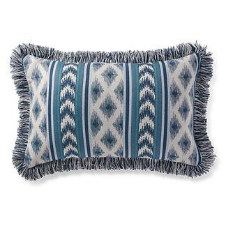 Ensenada Stripe Indigo Outdoor Lumbar Pillow