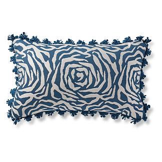Montaigne Rose Indigo Outdoor Lumbar Pillow
