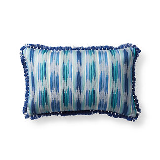 Yucatan Stripe Cobalt Outdoor Lumbar Pillow