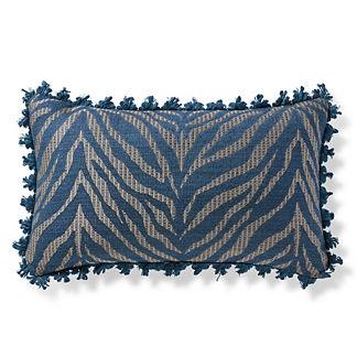 Zebra Linen Navy Outdoor Lumbar Pillow