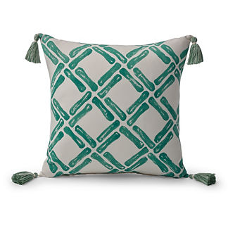 Bamboo Chain Jade Outdoor Pillow