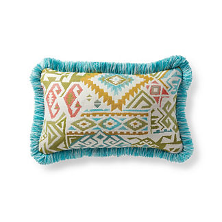 Kilim Chic Sandstone Outdoor Lumbar Pillow
