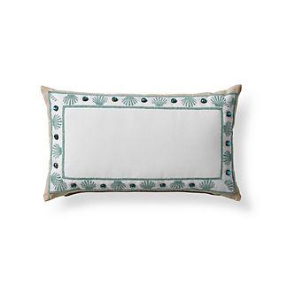 Clamshell Monogrammed Outdoor Lumbar Pillow