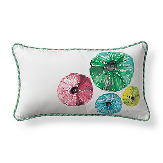 Handpainted Sea Urchins Outdoor Lumbar Pillow