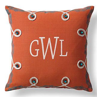 Lace Border Monogram Outdoor Pillow