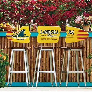 Margaritaville Landshark Surfboard Barstools, Set of Three