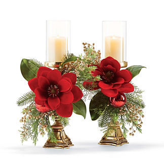 Holiday Magnolia Pre-Decorated Candlesticks, Set of Two