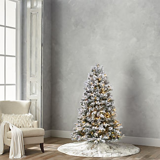 Flocked Norway Spruce Artificial Pre-lit Christmas Tree