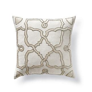 Silver Beaded Lattice Decorative Pillow