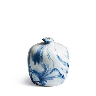 Indigo Marble Small Mouth Vase