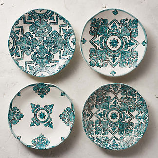 Tile Assorted Salad Plates, Set of Four