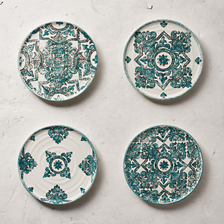 Tile Assorted Appetizer Plates, Set of Four