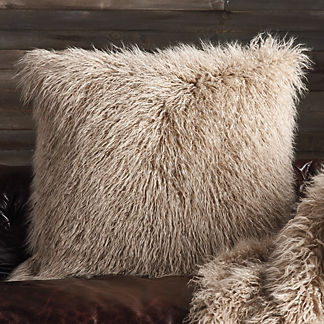 Faux Mongolian Sheepskin Decorative Pillow in Taupe
