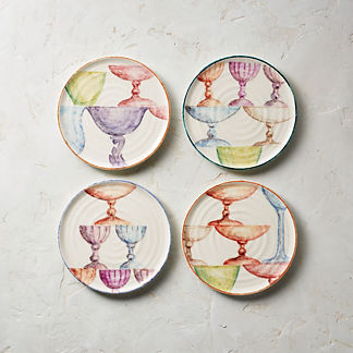 Wine Hand Painted Assorted Appetizer Plates, Set of Four