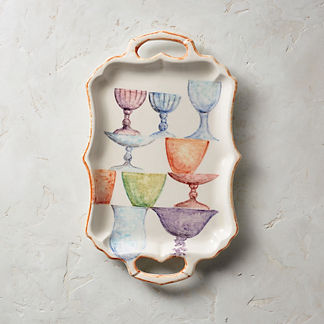 Wine Hand Painted Small Serving Platter