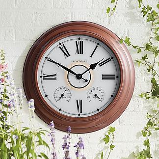 Collins Zinc Illuminated Outdoor Clock