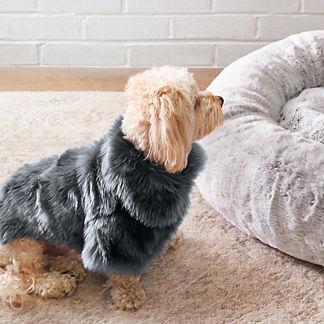 Faux Fur Pet Jacket in Moody Blue