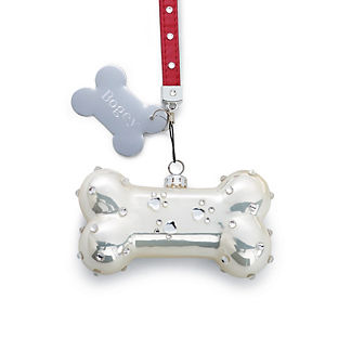 Personalized Dog Bone Glass Ornament