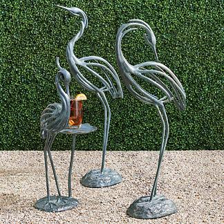 Stylized Head Down Heron Sculpture