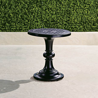 Carlisle Pedestal Side Table in Onyx Finish