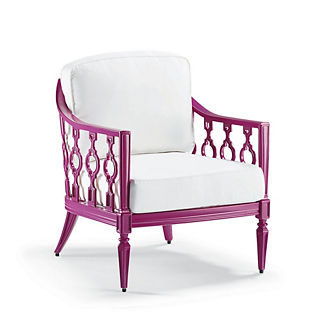 Avery Lounge Chair with Cushions in Fuschia Finish, Special Order