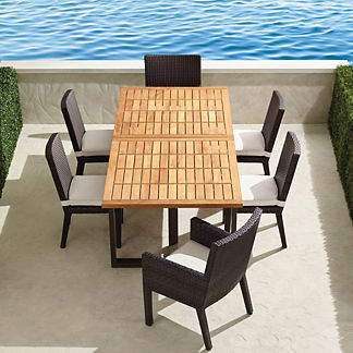 Pierce Extending Teak Dining Set in Bronze Finish