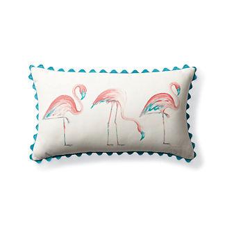Roaming Flamingos Outdoor Lumbar Pillow