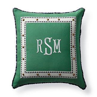 Monteverde Monogram Jade Outdoor Pillow
