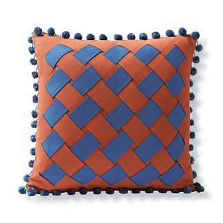 Tropical Basketweave Outdoor Pillow