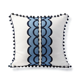 Scalloped Stripe Outdoor Pillow
