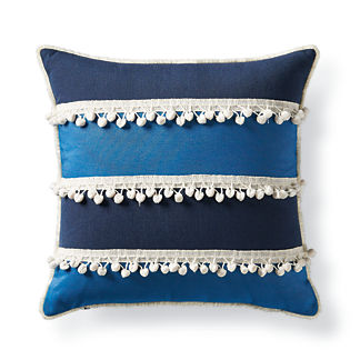 Pom Pom Stripe Lagoon Outdoor Pillow