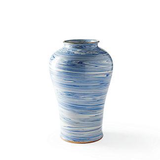 Blue Swirl Tall Vase