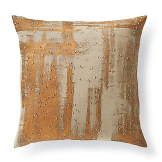 Gold Paint Strokes Decorative Pillow