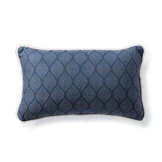 Ogee Stitch Navy Outdoor Lumbar Pillow
