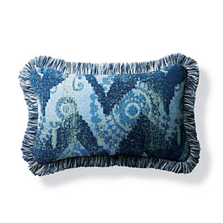 Wayward Travels Indigo Outdoor Lumbar Pillow