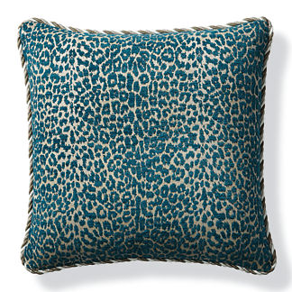 Leopard Luxe Peacock Outdoor Pillow