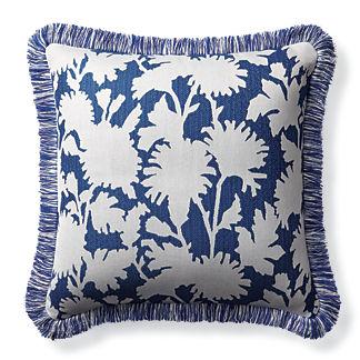 Stencil Floral Cobalt Outdoor Pillow