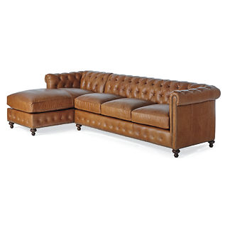 Petite Barrow Leather Sofa with Left-facing Chaise