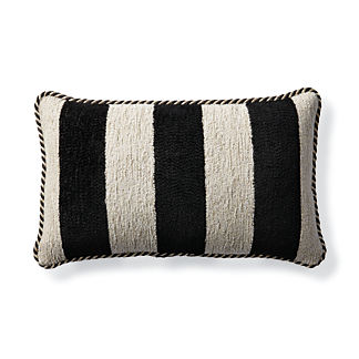 Caicos Stripe Bisque Outdoor Lumbar Pillow