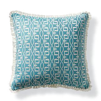 Geo Helix Aqua Outdoor Pillow