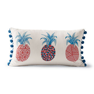 Patterned Pineapples Outdoor Lumbar Pillow