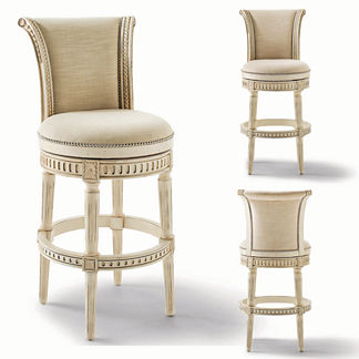 Manchester Swivel Bar Height Bar Stool in White Finish (30