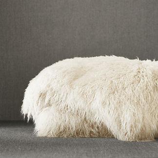 Faux Mongolian Sheepskin Throw in Ivory