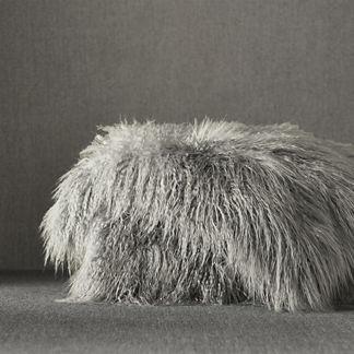 Faux Mongolian Sheepskin Throw in Platinum